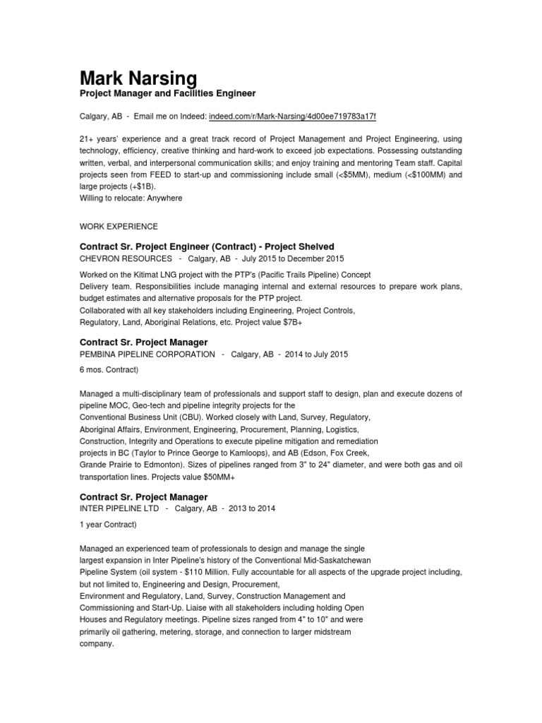Project Engineer Resume | Pipeline Transport | Construction Management