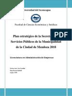 Plan estratégico de la Secretaría de Servicios Públicos de la Municipalidad de la Ciudad de Mendoza 2018
