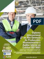 Diploma Internacional en Alta Gerencia de Produccion Mantenimiento y Auditor Interno de Calidad ISO 9001 2