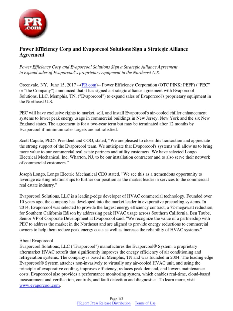 Power Efficiency Corp And Evaporcool Solutions Sign A Strategic
