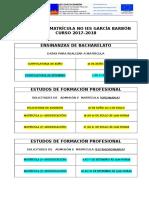Admisión e matrícula en Bacharelato e Formación Profesional
