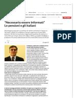 """""""Necessario Essere Informati"""" Le Pensioni e Gli Italiani - Repubblica"""