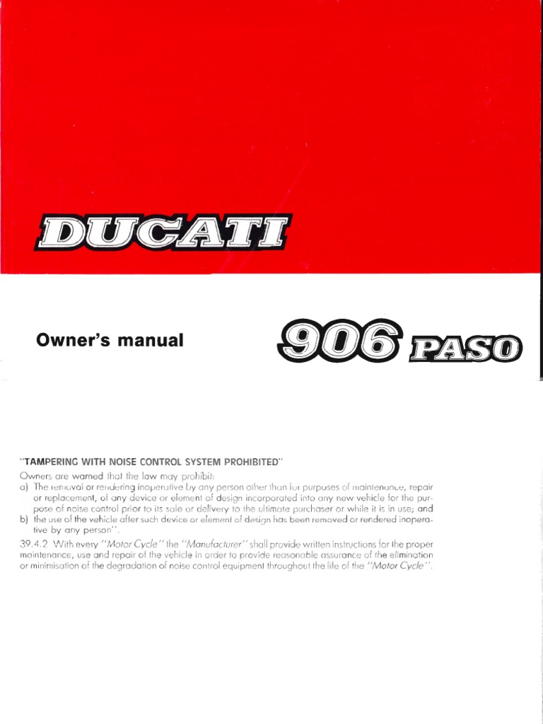 owner s manual ducati 906 paso rh scribd com