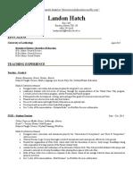 landons teaching resume