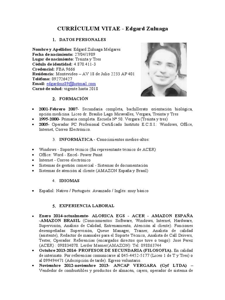 Bonito Soporte Técnico Curriculum Vitae Especialista Ilustración ...