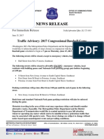 6.15.17 TRAFFIC ADVISORY 2017 Congressional Baseball Game