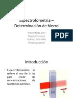 Espectrofometría –Determinación de Hierro