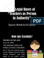 The Legal Bases of Teachers as Person in Authority