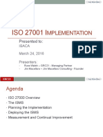 SF ISACA March16 ISO 27001 Implementation