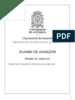 Examen de Admisión Universidad de Antioquia- Jornada Mañana