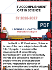 Accomplishment Report in Science