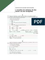 problemas resueltos de dos ecuaciones con dos incognitas