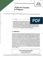 Generalizacion Del Teorema de Pitagoras. Notas de Clases
