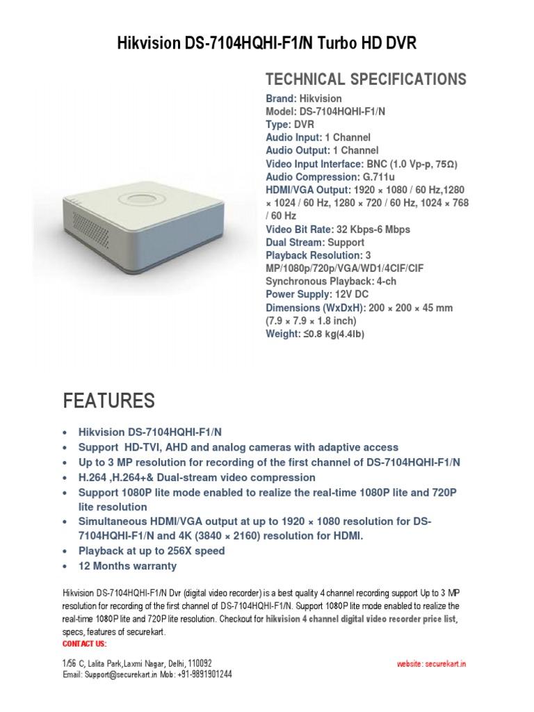 Hikvision DS-7104HQHI-F1-N Turbo HD DVR -Securekart   Digital Video