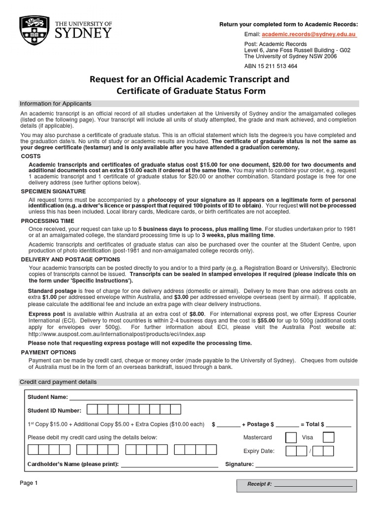 Request for Academic Transcript Form   Mail   Identity Document