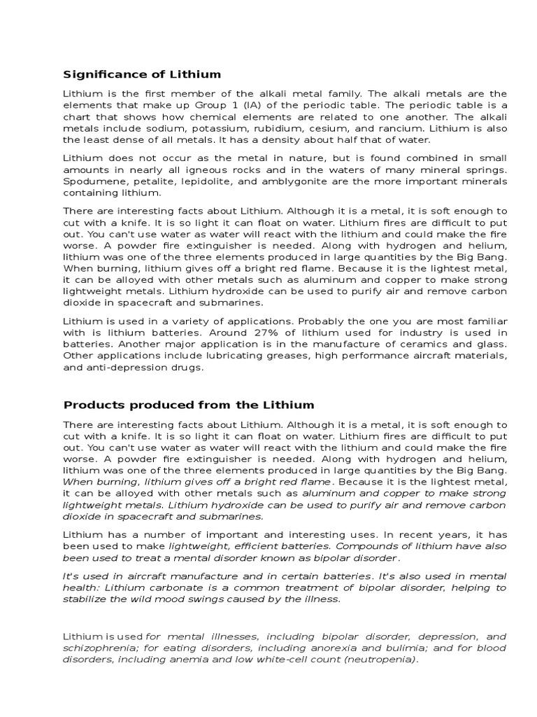 History of Lithium | Lithium | Metals