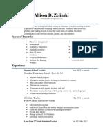 allison zelinski weebly resume