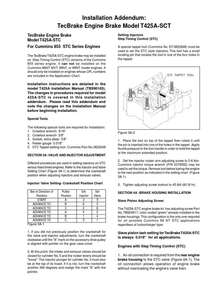 CUMMINS T425A-SCT SERVICE MANUAL pdf | Fuel Injection | Valve