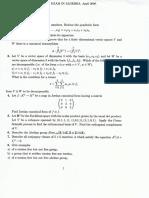 Algebra 1, April 2009