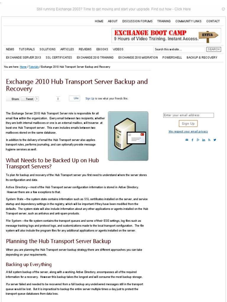 Exchange 2010 Hub Transport Server Backup And Recovery Microsoft