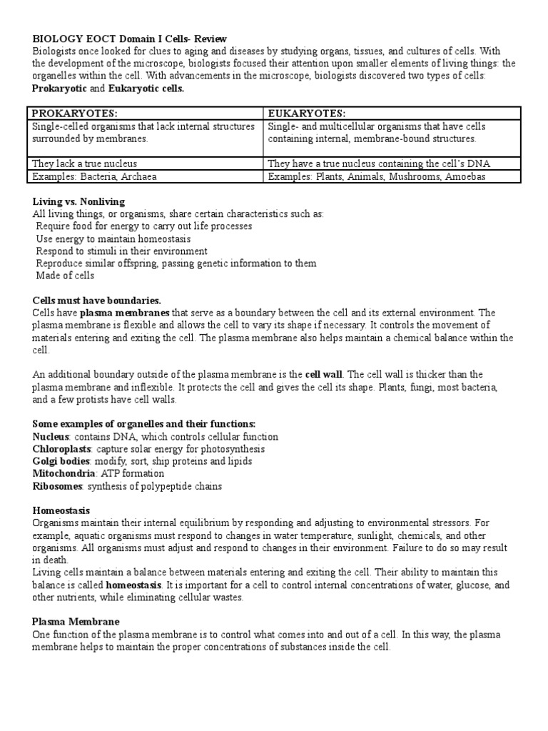 biology eoct domain i cells review carbohydrates cell biology rh scribd com Biology Study Guide Chapter 9 AP Biology Study Guide Answers Chapter 6