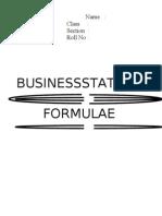 Business Statistics Formulas