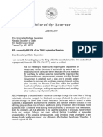 Gov. Brian Sandoval's  Veto Message for AB374 - Medicaid-like Health Plan