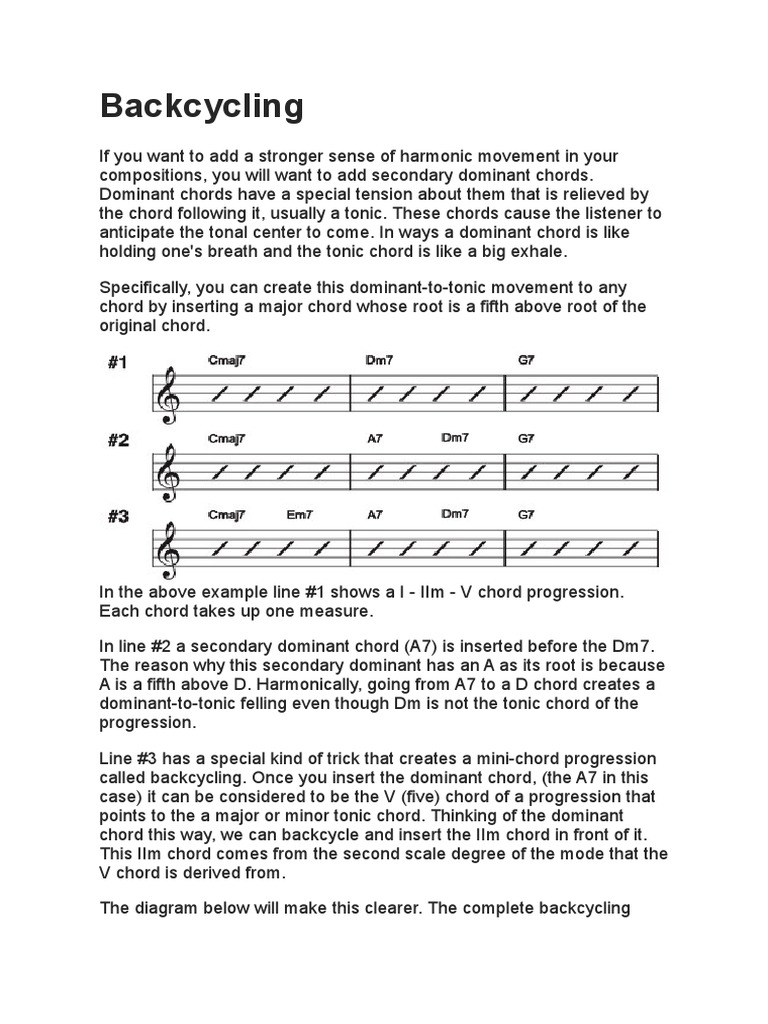 Backcycling Music Theory Chord Musical Techniques A7