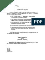 Affidavit of Loss Passbook