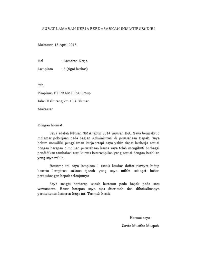 Surat Lamaran Kerja Berdasarkan Inisiatif Sendiri Pdf