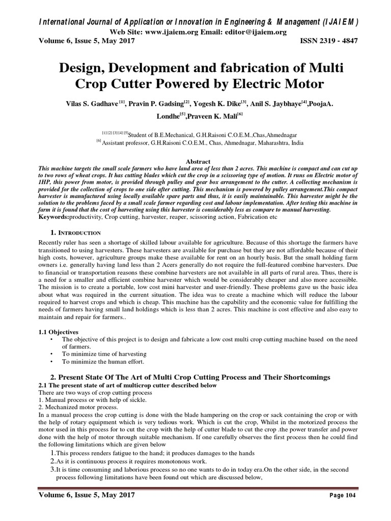 Design development and fabrication of multi crop cutter powered design development and fabrication of multi crop cutter powered by electric motor transmission mechanics engines sciox Image collections