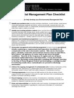 Environmental Management Plan Checklist