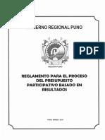 Reglamento Para El Proceso Del Presupuesto Participativo