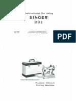 Singer 221 Instruction Manual