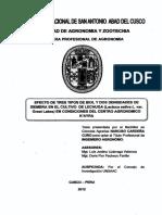 Efecto de Tres Tipos de Biol y Dos Densidades de Siembra en El Cultivo de Lechuga