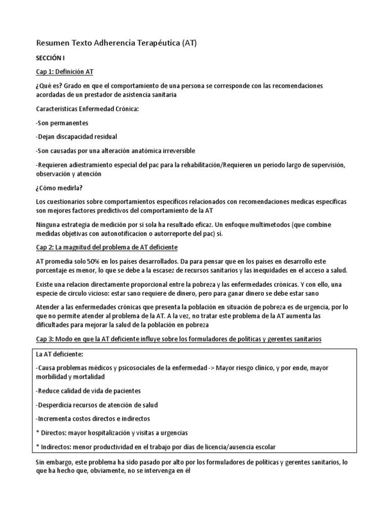 Resumen Texto Adherencia Terapéutica