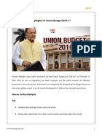 9 Highlights of Union Budget 2016