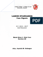 CASE DIGESTS Selected Cases in  Labor Standards