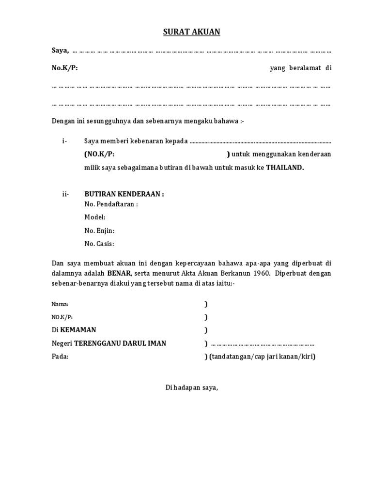 Serah Contoh Surat Akuan Sumpah Tanah