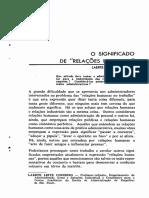 Topico 01-2- [Artigo] O Significado de Relaçoes Humanas - RAE v1n2p13-25a1961