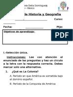 Evaluación de Historia 5º LA COLONIA