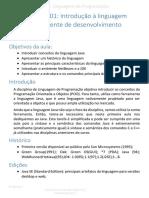 Aula01 - Introdução à Linguagem Java e Ao Ambiente de Desenvolvimento NetBeans