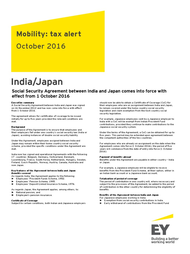 India japan social security agreement between india and japan india japan social security agreement between india and japan comes into force with effect from 1 october 2016 pension social security united states platinumwayz