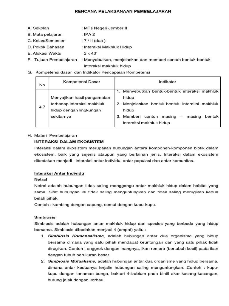 Rpp Ekosistem 4 Revisi