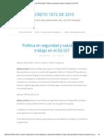 Decreto 1072 de 2015 » Política en Seguridad y Salud en El Trabajo en El SG-SST