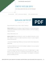 Decreto 1072 de 2015 » Aplicación Del SG-SST