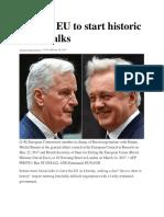 Britain, EU to Start Historic Brexit Talks