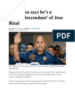 Dela Rosa Says He's a 'Proud Descendant' of Jose Rizal