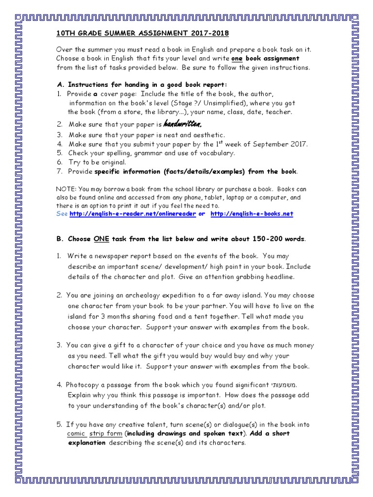 handwritten : 10Th Grade Summer Assignment 2017-2018