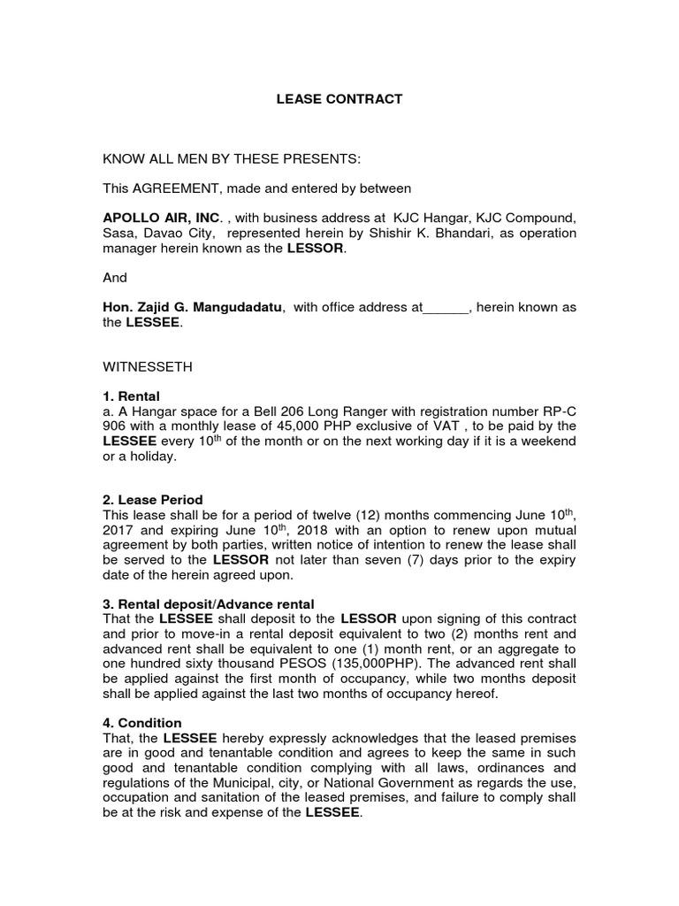 Lease Contractcx Lease Civil Law Legal System